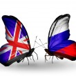 Two butterflies with flags on wings as symbol of relations UK and Russia — Stock Photo