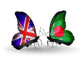 Two butterflies with flags on wings as symbol of relations UK and Bangladesh — Stock Photo