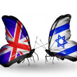 Two butterflies with flags on wings as symbol of relations UK and Israel — Stock Photo #31570053
