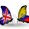 Two butterflies with flags on wings as symbol of relations UK and Equador — ストック写真