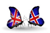 Two butterflies with flags on wings as symbol of relations UK and Iceland — Stock Photo