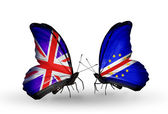 Two butterflies with flags on wings as symbol of relations UK and Cape Verde — Stock Photo