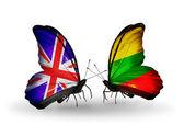 2 つの蝶の翼上のフラグと関係の記号としてイギリスそしてリスアニア — ストック写真