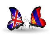 Two butterflies with flags on wings as symbol of relations UK and Mongolia — Stock Photo