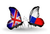 Two butterflies with flags on wings as symbol of relations UK and Czech — Stock Photo