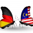 Two butterflies with flags on wings as symbol of relations Germany and Malaysia — Stock Photo #32732051