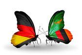 Two butterflies with flags on wings as symbol of relations Germany and Zambia — Stock Photo