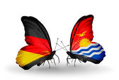Two butterflies with flags on wings as symbol of relations Germany and Kiribati — Stock Photo