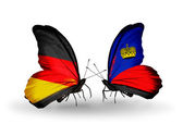 Two butterflies with flags on wings as symbol of relations Germany and Liechtenstein — Stock Photo