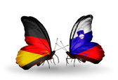 Two butterflies with flags on wings as symbol of relations Germany and Slovenia — ストック写真