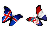 Concept - two butterflies with Icelandic and Croatian flags flying, like two football teams playing — Stock Photo