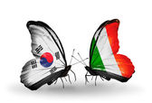 Two butterflies with flags on wings as symbol of relations South Korea and Ireland — Stockfoto
