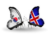 Two butterflies with flags on wings as symbol of relations South Korea and Iceland — Stock Photo