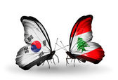 Two butterflies with flags on wings as symbol of relations South Korea and Lebanon — Stockfoto