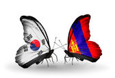 Two butterflies with flags on wings as symbol of relations South Korea and Mongolia — Stockfoto