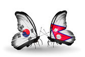 Two butterflies with flags on wings as symbol of relations South Korea and Nepal — Stockfoto