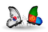 Two butterflies with flags on wings as symbol of relations South Korea and Eritrea — Stock Photo