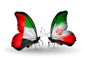 Two butterflies with flags on wings as symbol of relations UAE and Iran — Stok fotoğraf