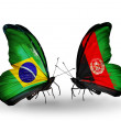 Two butterflies with flags on wings as symbol of relations Brazil and  Afghanistan — Stock Photo