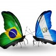 Two butterflies with flags on wings as symbol of relations Brazil and Guatemala — Zdjęcie stockowe