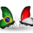 Two butterflies with flags on wings as symbol of relations Brazil and Monaco or Indonesia — Stock Photo