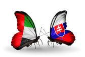 Duas borboletas com bandeiras nas asas como símbolo de relações dos emirados árabes unidos e eslováquia — Fotografia Stock