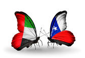Two butterflies with flags on wings as symbol of relations UAE and Chile — Stock Photo