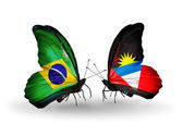 Två fjärilar med flaggor på vingarna som symbol för förbindelserna mellan brasilien och antigua och barbuda — Stockfoto