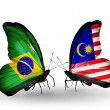 Two butterflies with flags on wings as symbol of relations Brazil and Malaysia — Foto Stock