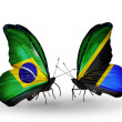 Two butterflies with flags on wings as symbol of relations Brazil and  Tanzania — Stock Photo