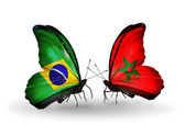 Two butterflies with flags on wings as symbol of relations Brazil and Morocco — Stock Photo