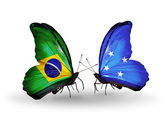 Two butterflies with flags on wings as symbol of relations Brazil and Micronesia — Stock Photo
