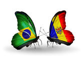 Two butterflies with flags on wings as symbol of relations Brazil and Moldova — Stock Photo