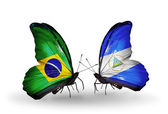 Two butterflies with flags on wings as symbol of relations Brazil and Nicaragua — Stock Photo