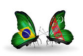 Two butterflies with flags on wings as symbol of relations Brazil and Turkmenistan — Stock Photo