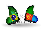 Two butterflies with flags on wings as symbol of relations Brazil and Eritrea — Stock Photo