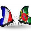 Two butterflies with flags on wings as symbol of relations France and Dominica — Zdjęcie stockowe