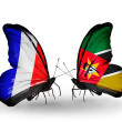 Two butterflies with flags on wings as symbol of relations France and Mozambique — Stock Photo