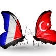 Two butterflies with flags on wings as symbol of relations France and Turkey — Zdjęcie stockowe