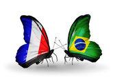 Två fjärilar med flaggor på vingarna som symbol för förbindelserna mellan frankrike och brasilien — Stockfoto
