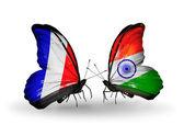 Två fjärilar med flaggor på vingarna som symbol för förbindelserna mellan frankrike och indien — Stockfoto