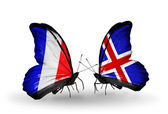 Two butterflies with flags on wings as symbol of relations France and Iceland — Stock Photo