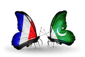 Two butterflies with flags on wings as symbol of relations France and Pakistan — Stock Photo