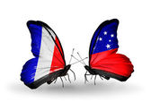 Two butterflies with flags on wings as symbol of relations France and Samoa — Stockfoto