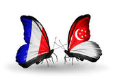 Two butterflies with flags on wings as symbol of relations France and Singapore — Stock Photo