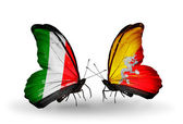 Two butterflies with flags on wings as symbol of relations Italy and Bhutan — Stock Photo