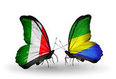Two butterflies with flags on wings as symbol of relations Italy and Gabon — Stockfoto