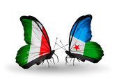Two butterflies with flags on wings as symbol of relations Italy and Djibouti — Stock Photo