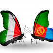 Two butterflies with flags on wings as symbol of relations Italy and Eritrea — Stock Photo