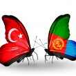 Two butterflies with flags on wings as symbol of relations Turkey and Eritrea — Stock Photo